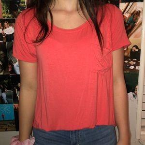 pink scoop neck short sleeve